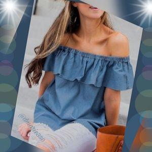 🎉 HP🎉 Blue Denim, Off Shoulder w/ ruffles blouse